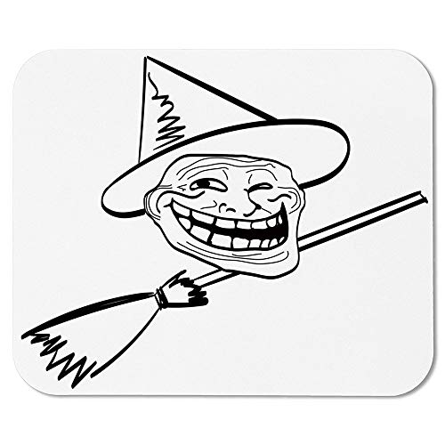 Humor Decor Wristband Mouse Pad,Halloween Spirit Themed Witch Guy Meme LOL Joy Spooky Avatar Artful Image for Home Desk Computer Desk,7.87''Wx9.45''Lx0.08''H -