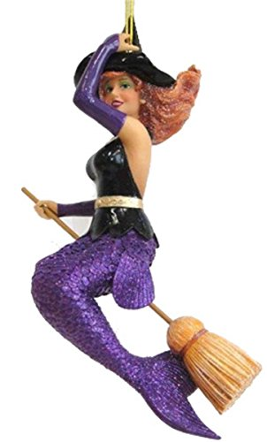 December Diamonds Sabrina Mermaid Witch on Broom Halloween Ornament 5590842 -