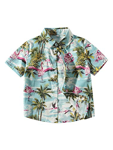 Abolai Boys' Short Sleeve One Pocket Dinosaur Pattern Woven Shirt (3-4 Year(110#), Style2 Blue) Button Up Hawaiian T-shirt
