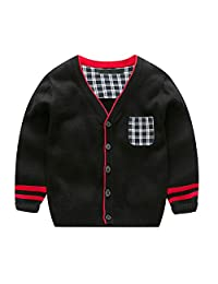 Evelin LEE Baby Boys Spring Fall Crochet Sweaters V-Neck Button Down Jacket Cardigan
