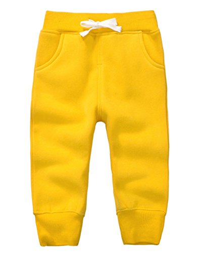 (DELEY Unisex Kids Cotton Pants Winter Trousers Baby Bottoms Sweatpants 1-5 Years Yellow Size 4Y)