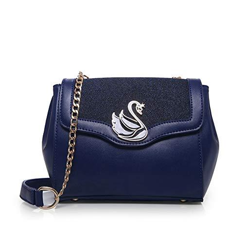 motif femme bleu de noir cygnes épaule et à forme à petite Sac de perles Wangkk pour bandoulière B1IfnPWFx