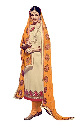 Urban.India Women's Off Georgette Straight Semi-Stitched Suit Free Size Off-White