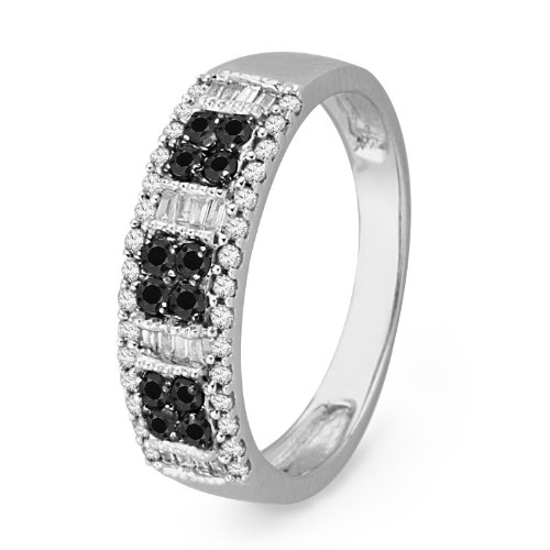 Sterling Silver Baguette and Round Diamond Black and White Fashion Ring (1/2 cttw)