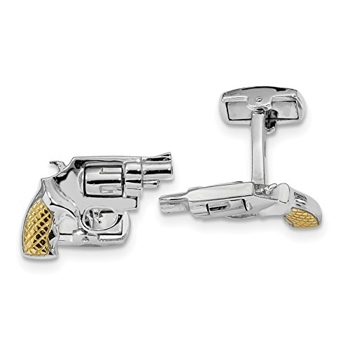 ICE CARATS 925 Sterling Silver Gold Plated Revolver Moveable Barrel Cuff Links Mens Cufflinks Link Fine Jewelry Dad Mens Gift Set by ICE CARATS