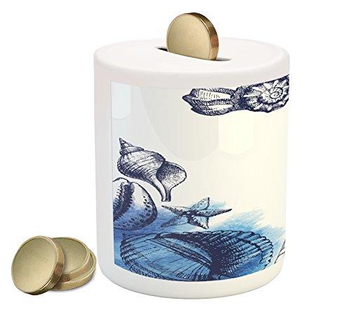 Ocean Coin Box by Ambesonne, Sealife Sea Shells and Sand Stones Deep Water Star Fish Blue Toned Design, Printed Ceramic Coin Bank Money Box for Cash Saving, Navy Blue and White