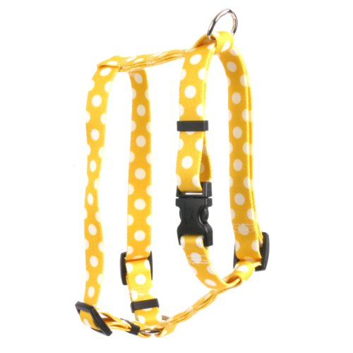 Image of Yellow Dog Design Lemon Polka Dots 14-Feet to 20-Feet Harness, Small/Medium