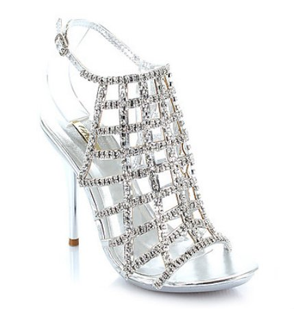 ab3dc4c907e Shoehorne Ocean-16 - Womens Caged Silver Sparkling Rhinestone Diamante  Encrusted High Heeled Evening Sandals w  Stiletto heel - Avail in Ladies  Size 3-8 UK