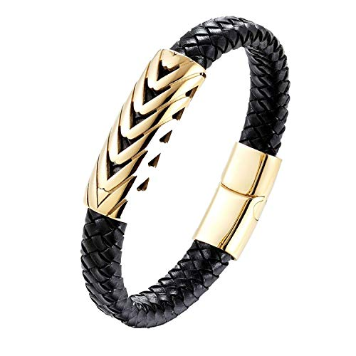 Holiday Gifts Personality Leather Bracelet Serpentine Arrow Design Gold Color Bangle for Men Fashion - Gold Red Serpentine Bracelets