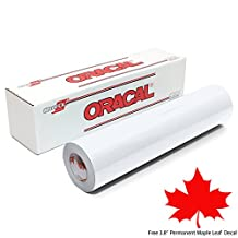 """12"""" x 10 ft Roll of Matte Oracal 651 White Outdoor Permanent Adhesive Craft Vinyl for Cricut, Silhouette, Cameo - Matte Finish - Bonus 1 3.8"""" Maple Leaf Permanent Decal"""