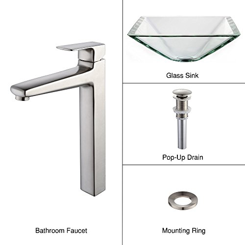 Kraus C-GVS-901-19mm-15500BN Clear Aquamarine Glass Vessel Sink and Virtus Faucet Brushed Nickel