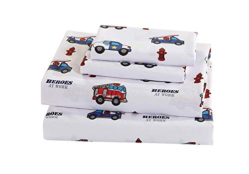 Police Fire Truck - Elegant Home Multicolors Heroes First Responders Police Cars & Fire Trucks Design Fun 3 Piece Printed Sheet Set with Pillowcase Flat Fitted Sheet for Boys/Kids/Teens (Heros, Twin Size)