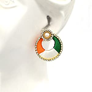 Indi Creation Pearl and Beads Handmade Round Tri Color Dangle Earrings for Women (Multicolour)