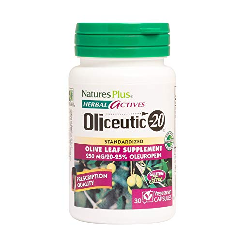 (Natures Plus Herbal Actives Oliceutic 20-250 mg Oleo Europa, 30 Vegan Capsules - Olive Leaf Supplement, Promotes Healthy Immune Function - Vegetarian, Gluten Free - 30)