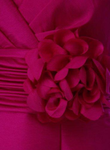 Taft Teil Kurze Hand Abendkleid V Fuchsie made Schoene mit GEORGE BRIDE Strap Ausschnitt Blumen Kleid mit RqHxpY