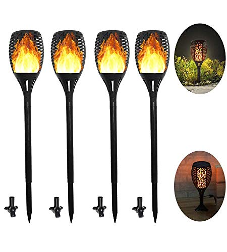 - 4 Pack Solar Torch Lights Auto On/Off 3 Modes Waterproof Outdoor Solar Landscape Decor Lights Flickering Dancing Flames Lights Sun/USB Powered Security Path Light for Lawn,Patio,Garden,Yard,Driveway