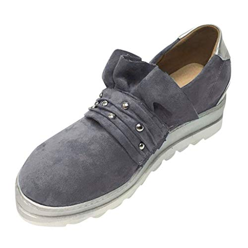 (Women Wedge Sneakers Respctful✿ Fashion Ladies Slip on Loafer Shoes Breathable Walking Sports Shoes Gray)