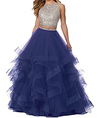 Ladsen 2108 Sweet 16 Ball Gown Beading Quinceanera Dresses 2 Piece Long Prom Gowns Navy Blue US4 Size