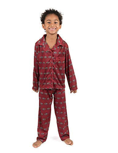 Leveret Kids Pajamas Flannel Pajamas Boys & Girls 2 Piece Christmas Pajama Set Elephant 8 Years