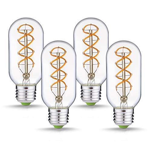 Jslinter Vintage Edison LED Light Bulbs, 4W Dimmable Antique T14(T45) Style Bulb, Spiral Long Filament 2300K, 180 Lumens, Indoor Decorative E26 Base(4 Pack)