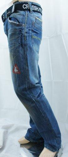 CrosshatchHerren Jeanshose, Einfarbig Blau Dunkelblau