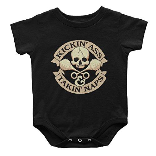 T-Shirt Hell Unisex Baby Kickin' Ass & Takin' Naps Funny Onesie 12M Black