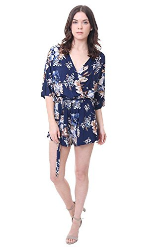Veronicam Veronica M Jumpers Lightweight Tie Waist Navy Floral Romper - Navy - L by Veronicam