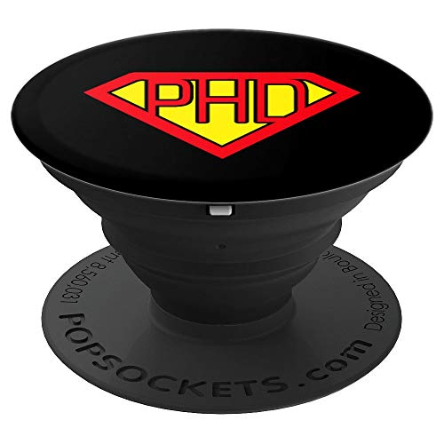 Ph.D Superhero Symbol | Funny Doctorate Degree Gift PopSockets Grip and Stand for Phones and Tablets]()