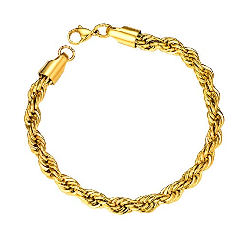 Thick Mens Twisted Braided Chain Hip hop Bracelet 6mm 21CM Rope Bracelet