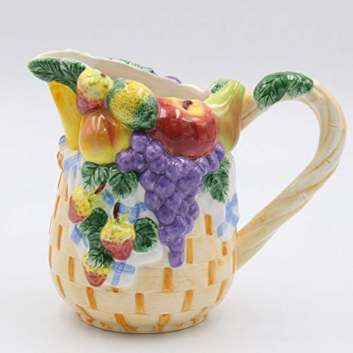 Fine Ceramic Hand Painted Fruits Design Apple Pear Peach Strawberry Grapes Water Pitcher, 8-1/2