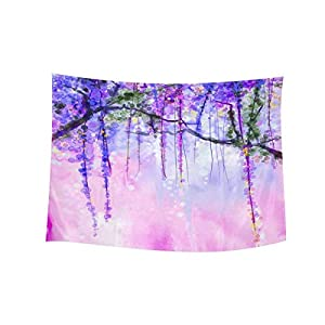 InterestPrint Watercolor Wisteria Spring Purple Flowers Painting Wall Hanging Tapestry Art Home Decorations for Living Room Bedroom Dorm Decor, 60W X 40L Inch 11