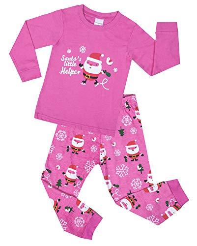 (Chyoul Boys Girls 2-Pieces 100% Cotton Long Sleeve Prints Toddler Kids Christmas Pajamas Sets PI2T)