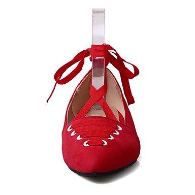 Cómodo y elegante soporte de zapatos de las mujeres pisos primavera verano otoño invierno Mary Jane forro polar oficina y carrera vestido de fiesta y noche tacón bajo cordones negro rosa rojo gris otr gris