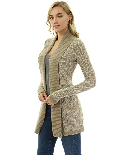 PattyBoutik Women Open Front Marled Sweater Cardigan (Tan and White Large) (Marled Cardigan Sweater)