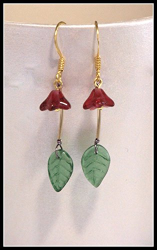 Spring Sprig Earring - Fuchsia Bell Flower, Tourmaline Green Glass Leaf, Gold Filled Noodle Bead, 1.25-inch (Tourmaline Earrings Date)