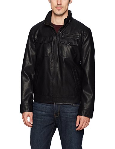 Dockers Men's Faux Leather Classic Trucker Jacket, Black, Small by Dockers