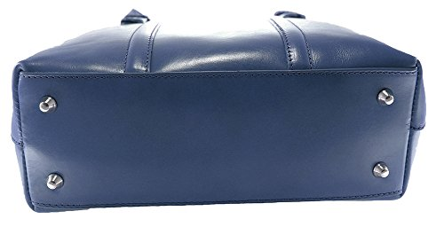 Vera in Scuro Made 100 Mano da 34x30x11cm Donna Elegante CTM Italy a Pelle Borsa Blu Classica qZ8Sw7gw