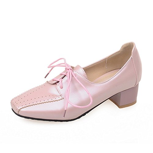 Fashion Heel Womens Low Heel Square Toe Loafers Pink
