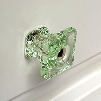 Cabinet Knobs Glass, Jewelry Box Drawer Pulls Or Handles Dresser T83FN  4 Pack Green
