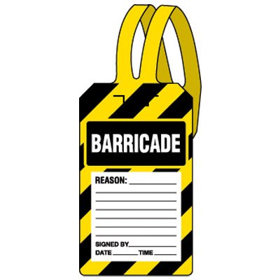 Plastic Barricade Self-Fastening Tags - 5-3/4''h x 3-3/8''w, Black / Yellow / White