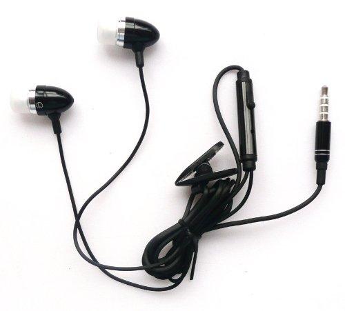 Emartbuy ® Negro Manos Libres Estéreo En Oído Manos Libres Con Micrófono Adecuada Para Sony Xperia Tipo