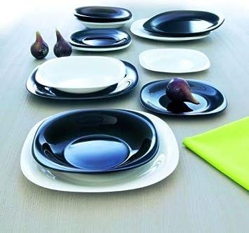 c44a58c344a4f0 Luminarc Service de 36 assiettes pour 12 personnes, couleur blanc   noir