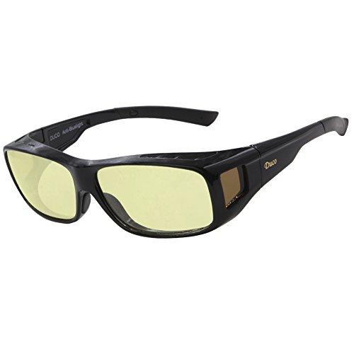 Duco Optiks Ergonomic Advanced Computer Gaming Wear Over Prescription Glasses Anti Blue Light Wraparound Eyewear 8954L