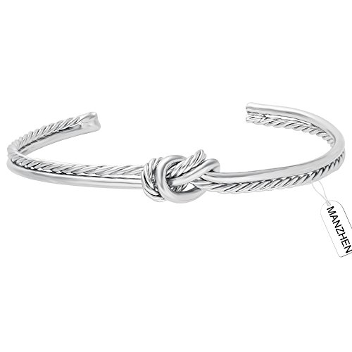 MANZHEN 3Colors Simple Knot Bangle Cuffs for Women Adjustable Sailor Love Knot Bangle Bracelet Bridesmaid Gift (Silver)