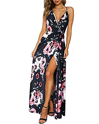 II ININ Women's Deep V-Neck Strap Casual Floral Print Maxi Split Dress