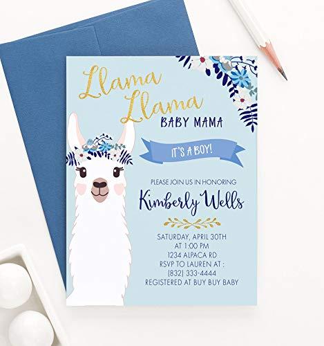 Llama Baby Shower Invitations for Boy, Llama Invitations Baby Shower, Your choice of Quantity and Envelope Color