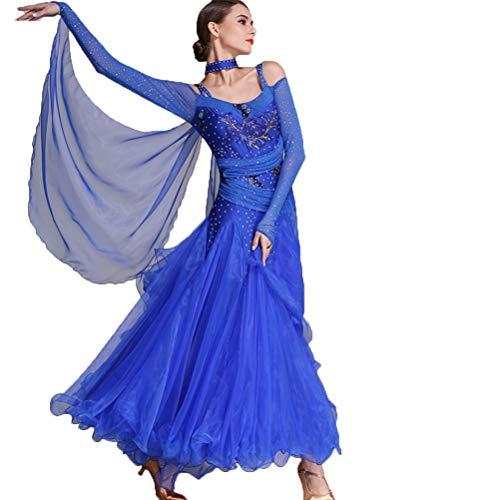 Grandes Robe Standard m Ballroom Balançoires Manches Compétition Jupe Costume Performance À De Moderne Wqwlf Pour Femmes Danse Dresses Longues National Royalblue ZvPw6RgRqn
