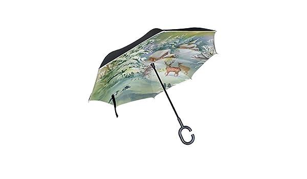 ISAOA Paraguas grande invertido paraguas reversible plegable ...