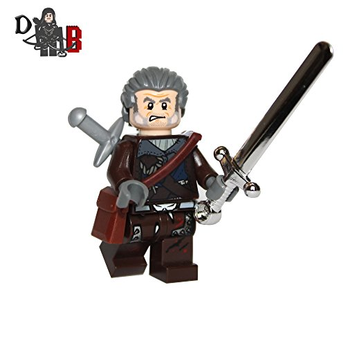 Custom The Witcher 3 Geralt of Rivia Minifigure with silver & steel swords.