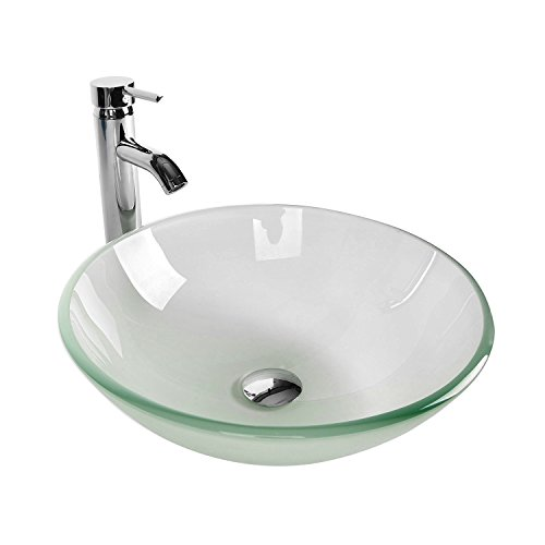 Tempered Glass Vessel Bathroom Vanity Sink Round Bowl, Chorme Faucet & Pop-up Drain Combo, Frosted Color by PULUOMIS